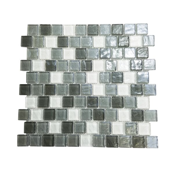 Geo 1 x 1 Glass Mosaic Tile in Gray by Abolos