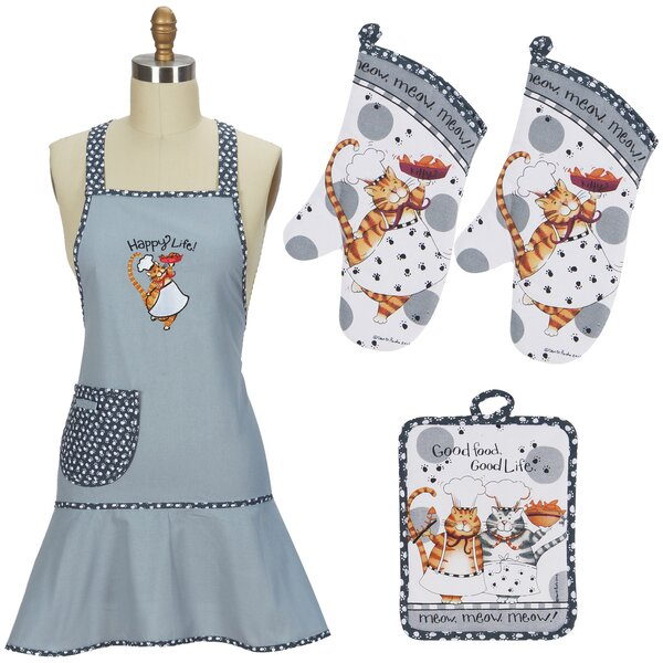 4 Piece Happy Cat Apron Set by Red Barrel Studio