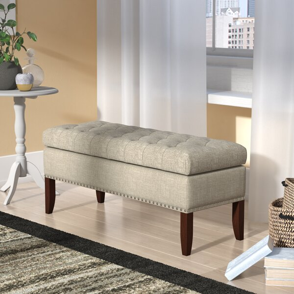 Tackett Hinged Top Button Tufted Upholstered Storage Bench by Charlton Home