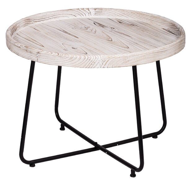 Charlize Organic Elements Rustic Cocktail Table - Matte Black, Wash White By Gracie Oaks
