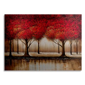 Parade of Red Trees by Rio Painting Print in Brushed Aluminum by Trademark Fine Art