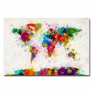World Map Splashes Painting Print on Wrapped Canvas by Trademark Fine Art