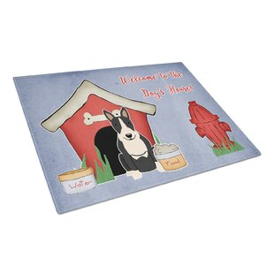 Dog House Glass Bull Terrier Cutting Board By Caroline's Treasures
