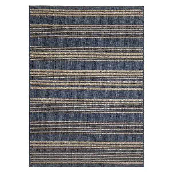 Wrington Stripe Blue Indoor/Outdoor Area Rug by Breakwater Bay