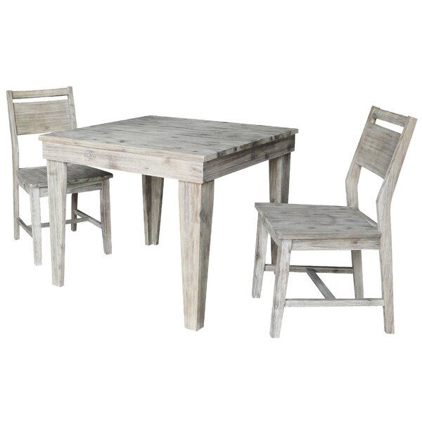 Gambrell 3 Piece Solid Wood Dining Set by Gracie Oaks