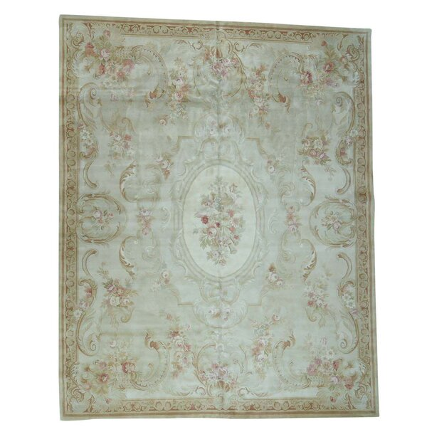 Charles and Plush Savonnerie European Hand-Knotted Ivory/Beige Area Rug by Astoria Grand