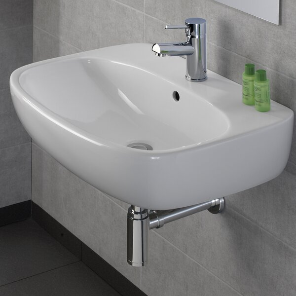 Moda Vitreous China 24 Wall Mount Bathroom Sink with Overflow by Bissonnet