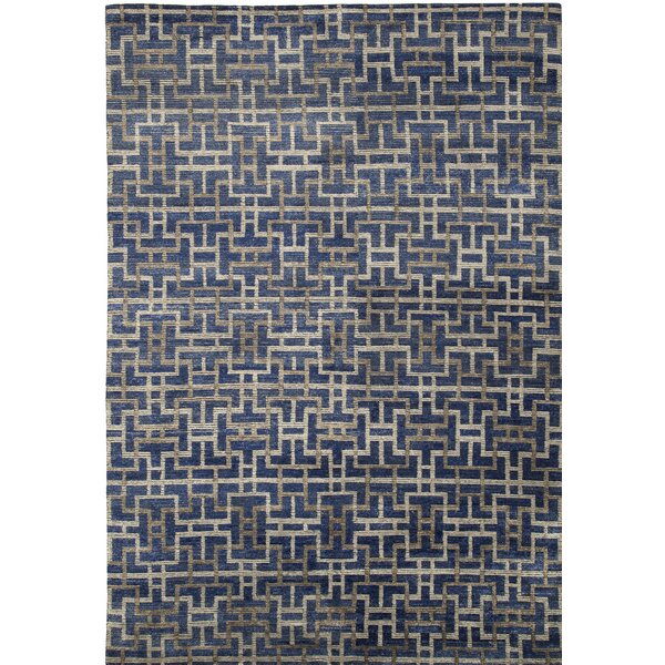Urban Hand-Knotted Blue/Gray Area Rug by Shalom Brothers