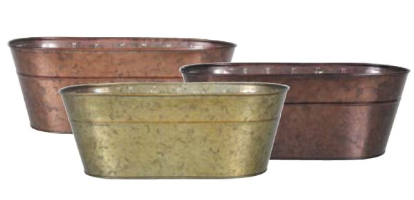 Innes Oval Metal Pot Planter by August Grove