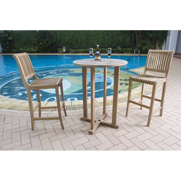 Balster 3 Piece Teak Bar Height Dining Set by Darby Home Co
