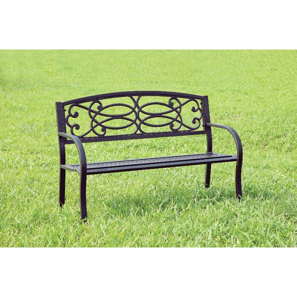 Claret Patio Metal Park Bench by Fleur De Lis Living