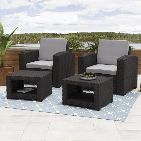 Guillen Patio 4 Piece Conversation Set with Cushions by Wrought Studio