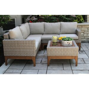 Mallie Eucalyptus and Wicker Sectional with Cushions  sc 1 st  Wayfair : patio furniture sectionals - Sectionals, Sofas & Couches