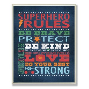 Seth Superhero Rules Wall Plaque by Viv + Rae