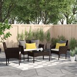Moro 4 Piece Rattan Sofa Seating Group with Cushions by Zipcode Design