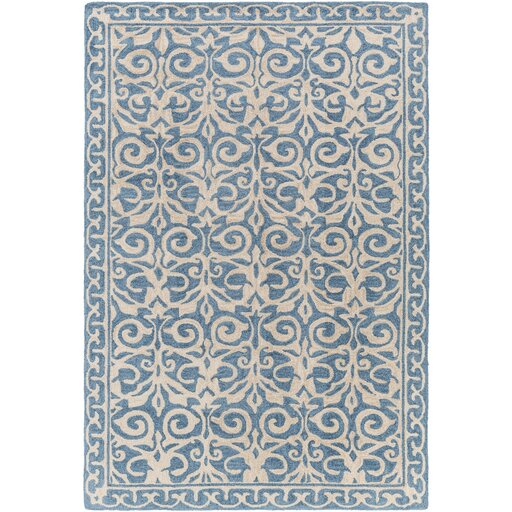 Bastien Hand-Hooked Blue/Beige Area Rug by One Allium Way