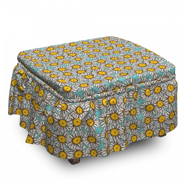 Sketch Daisies 2 Piece Box Cushion Ottoman Slipcover Set By East Urban Home