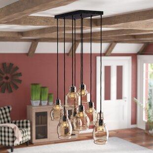 Shopping for Pruett Cognac Glass 8-Light Cluster Pendant By Gracie Oaks