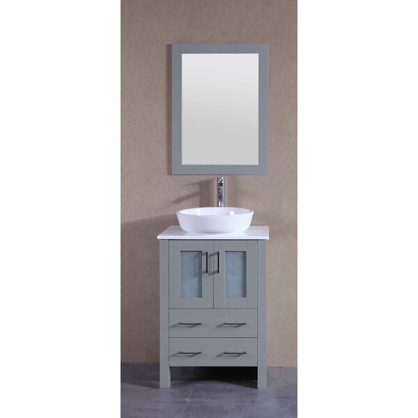 Aspen 24 Single Bathroom Vanity Set with Mirror by Bosconi