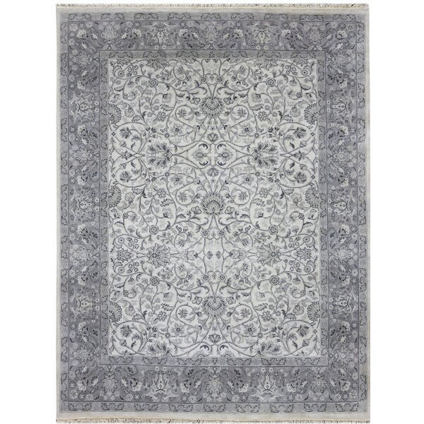 Zella Hand-Knotted Beige/Gray Area Rug by Ophelia & Co.