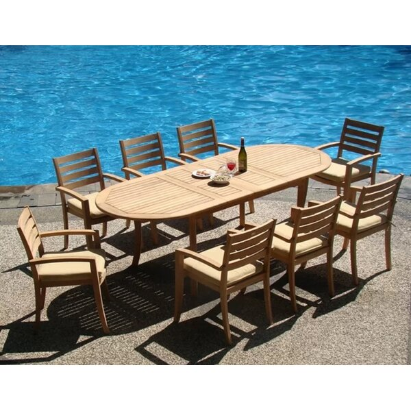 Orsi Luxurious 9 Piece Teak Dining Set by Rosecliff Heights