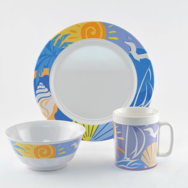 Decorated Ocean Breeze Melamine 18 Piece Dinnerware Set, Service for 6 by Galleyware Company