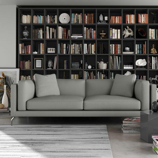 Reade Leather Sofa by Modloft Black
