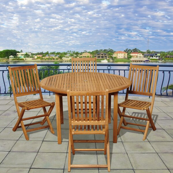 Tysen International Home Outdoor 5 Piece Teak Dining Set by Highland Dunes