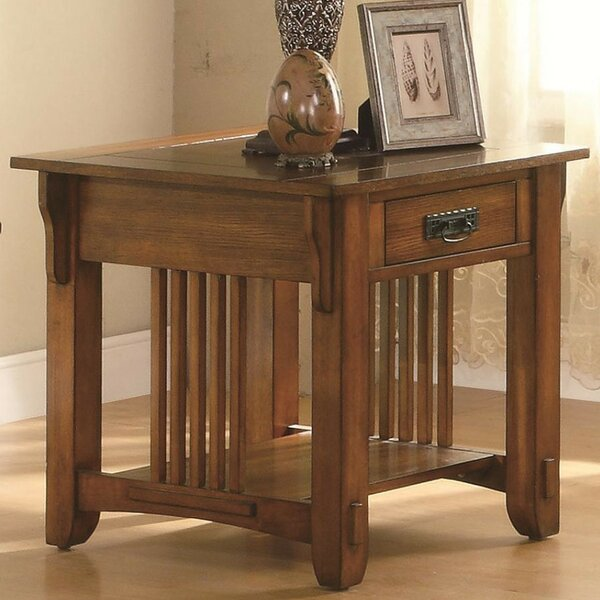 Aldana Transitional Slated Wooden End Table by Darby Home Co