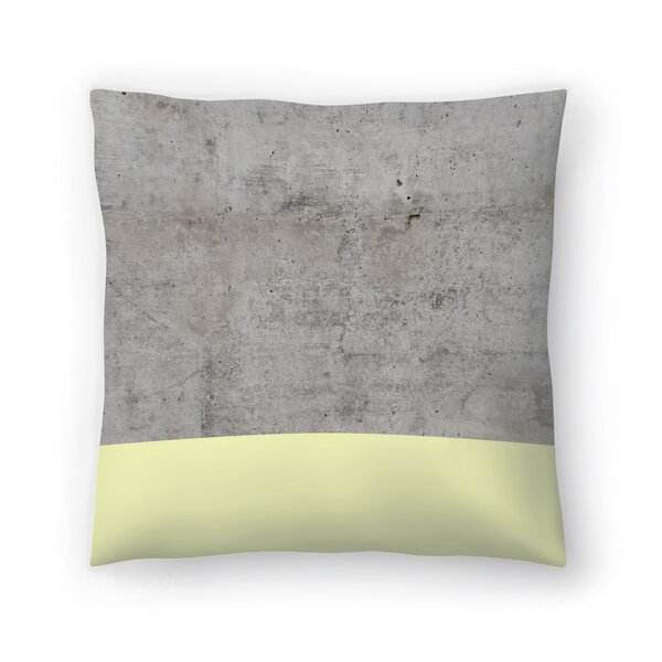Yellow On Concrete Throw Pillow by East Urban Home