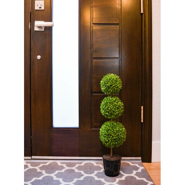 23 Tall Artificial Tabletop Triple Ball Shaped Boxwood Topiary in Pot by Admired by Nature