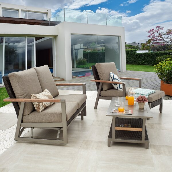 Sevgi Outdoor 4 Piece Sofa Seating Group with Cushions by Latitude Run