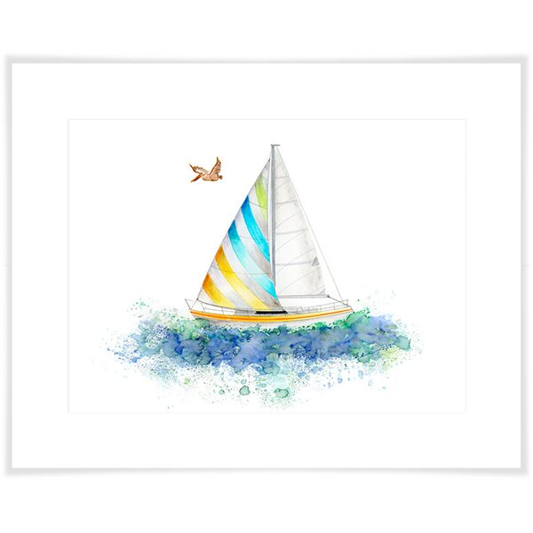 Kelvin Sailboat Paper Print by Harriet Bee