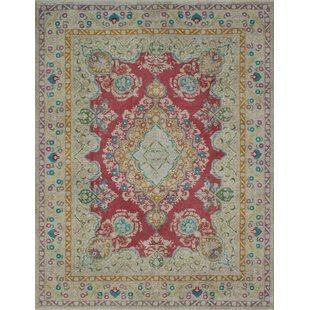 One-of-a-Kind Carriage Hill Vintage Distressed Overdyed Hand Knotted Wool Red Area Rug by Bloomsbury Market