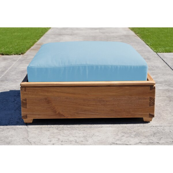 Crelake Outdoor Teak Ottoman with Sunbrella Cushion by Foundry Select