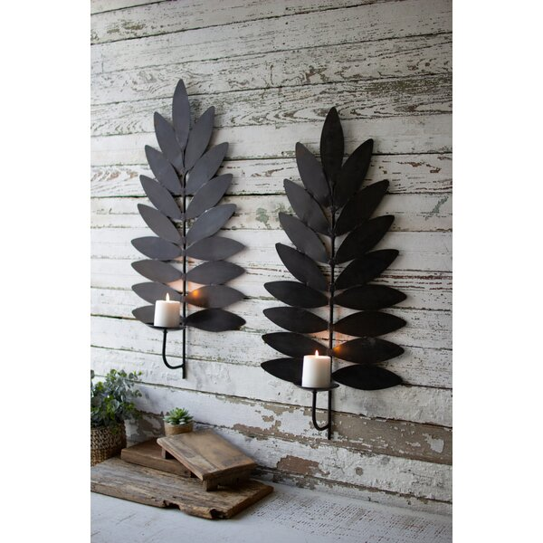 Leaf Iron Sconce (Set of 2) by Millwood Pines