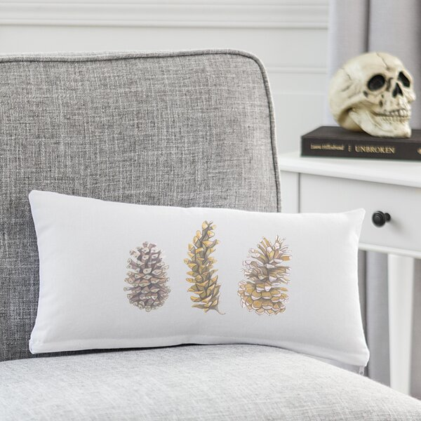 Cerenishti Pinecone Cotton Lumbar Pillow by Loon Peak