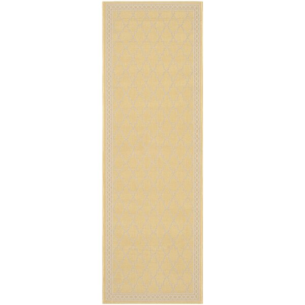 Short Yellow/Beige Indoor/Outdoor Rug by Winston Porter
