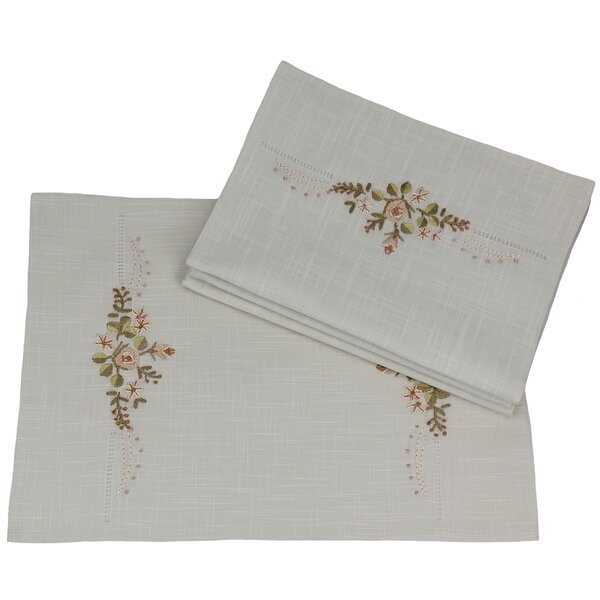 Linen Flowers Crewel Embroidered with Hemstitch Placemat (Set of 4) by Xia Home Fashions