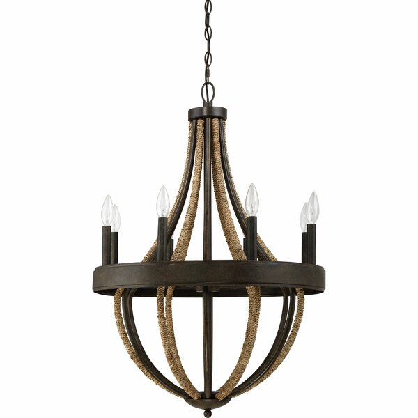 Helga 8 - Light Candle Style Empire Chandelier with Rope Accents by Laurel Foundry Modern Farmhouse Laurel Foundry Modern Farmhouse