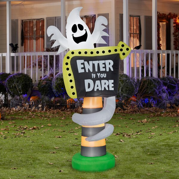 Ghost Trick-or-Treat Sign Inflatable by The Holiday Aisle