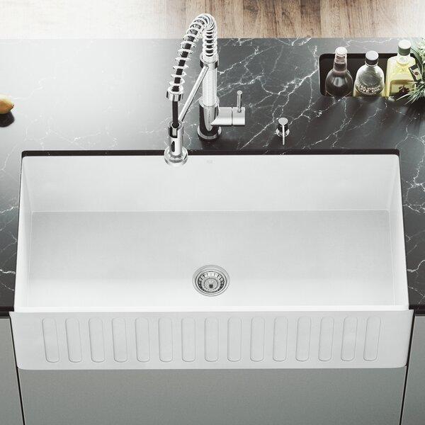 VIGO Matte Stone 36 L x 18 W Farmhouse Kitchen Sink with Basket Strainer by VIGO