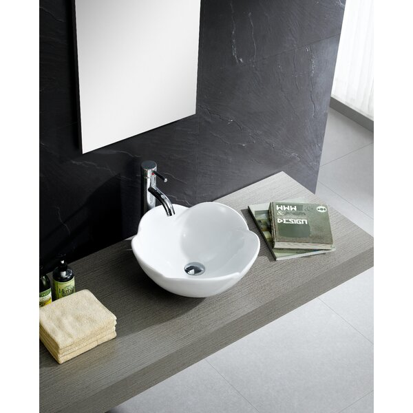 Modern Ceramic Circular Vessel Bathroom Sink by Fine Fixtures