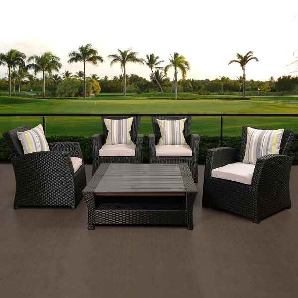 Mcdaniels 6 Piece Rattan Sectional Seating Group with Cushions by Canora Grey