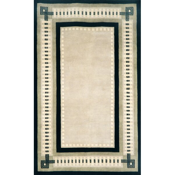 Palermo Modern Border Hand Knotted Wool Ivory Area Rug by Liora Manne
