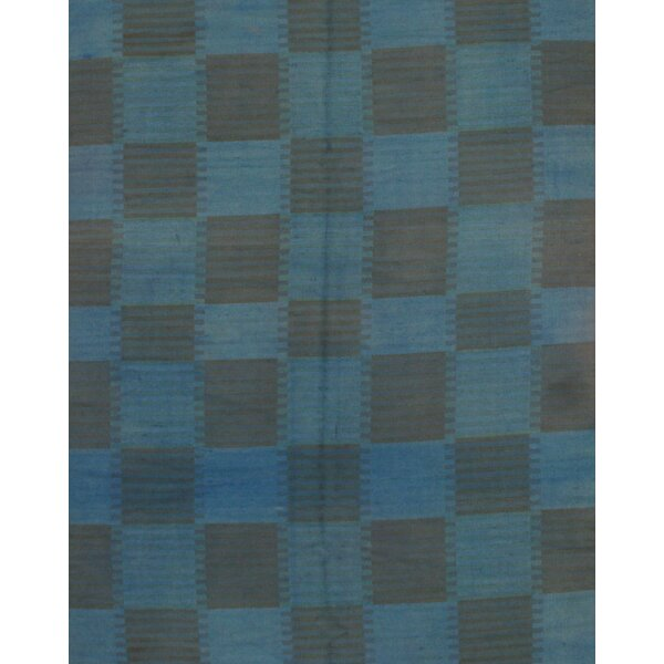 Modern Wool Blue Area Rug by Pasargad NY
