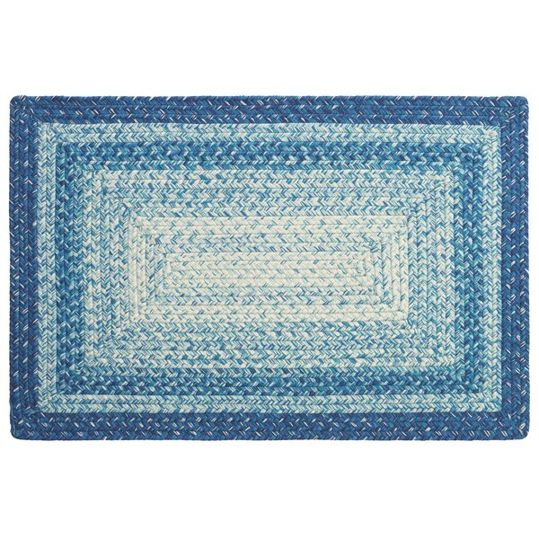 French Hand-Braided Blue Area Rug by CompanyC