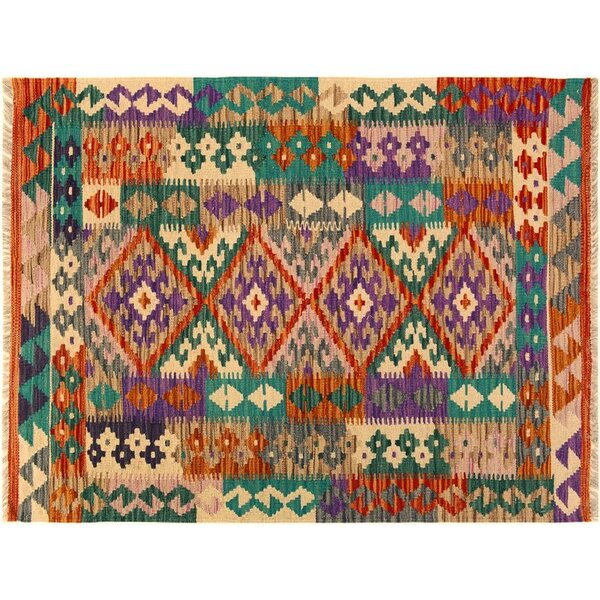 One-of-a-Kind Bakerstown Kilim Hand-Woven Rust/Teal Area Rug by Bloomsbury Market