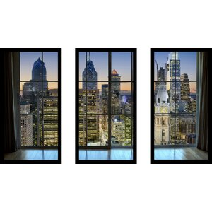'Philadelphia, Pennsylvania, USA Downtown Skyline Window' 3 Piece Framed Photographic Print Set by Picture Perfect International