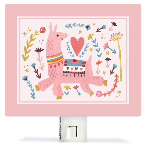 Pink Llama by Irene Chan Canvas Night Light by Oopsy Daisy